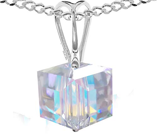 Cube Necklace Royal Crystals made with Sterling Silver and Swarovski Crystals Aurora Borealis Charm, 18inches