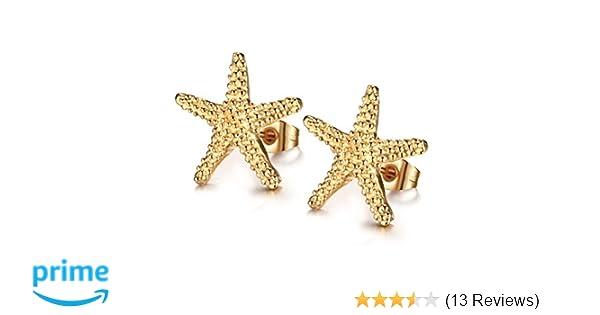 40f868c0d Amazon.com: Vnox Jewelry Stainless Steel Trendy Starfish Shape Ear Stud  Earring for Women, Gold Plated, 15mm: Jewelry