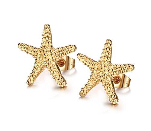 Vnox Jewelry Stainless Steel Trendy Starfish Shape Ear Stud Earring for Women,Gold (Best Vnox Bling Jewelry Bling Jewelry Diamond Necklaces)