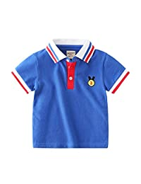 MiyaSudy Baby Boys Polo Shirt Kids Summer Cotton T-Shirt Cute Lapel Short Sleeved Casual Top