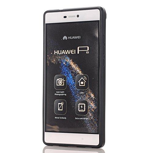 YAJIE-Carcasa Funda Para Huawei P8, Nuevo Hybrid Sliding Design TPU + Funda de la cartera de PC Funda protectora resistente a los golpes de goma rugosa parachoques Hard Cover Card Holder ( Color : Blu Black
