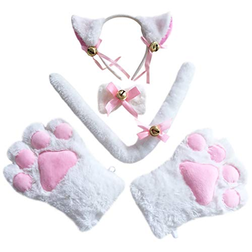(Coxeer Cat Cosplay Costume Kit, Catwoman Costume Cat Tail Cat Ears Collar Paws Gloves for Women)