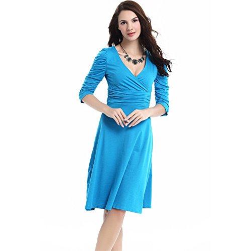 Maniche 4 Casuale Aamikast 3 Scollo Blu Increspato Eleganti Da Cocktail Donne Cielo V Delle Abiti A zYRz8WAg