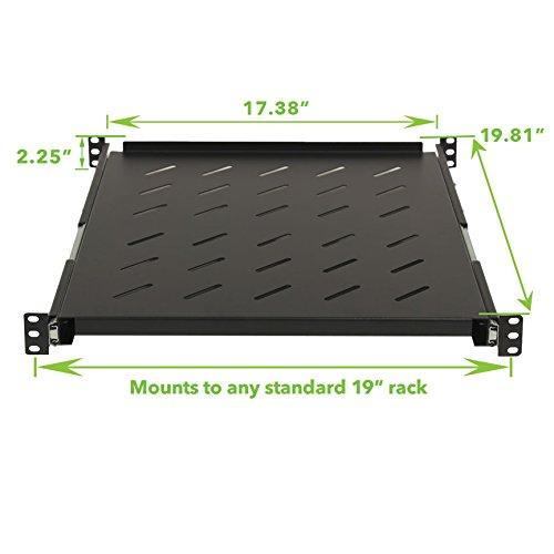 Navepoint Sliding Rack Vented Server Shelf 1U 19'' 4 Post Rack Mount Adjustable 20'' - 34'' by NavePoint