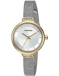 Armitron Womens 75/5476SVTT Swarovski Crystal Accented Two-Tone Mesh Bracelet Watch