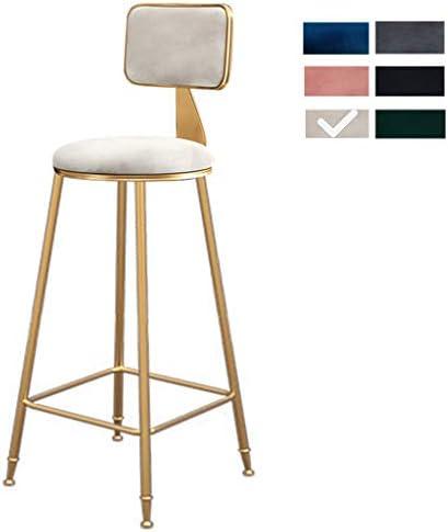 カウンタ ベルベット バーパブ 便 いす 背もたれ付き メタルフット、 キッチン朝食バースツール 椅子、 ホームオフィス用家具 (3高さ-サイズ:65cm) (6色)