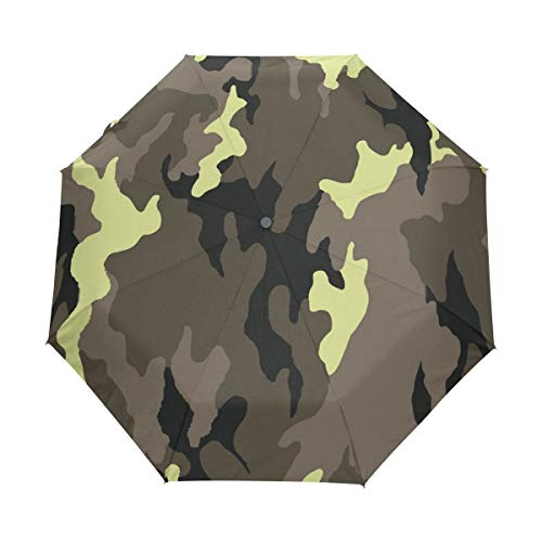 Jereee Military Camouflage Texture Compact Travel Umbrella, Outdoor Rain Sun Car Folding Umbrellas for Windproof, Reinforced Canopy, UV Protection, Ergonomic Handle, Auto Open/Close by Jereee