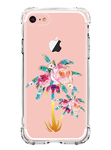 LUOLNH Compatible with iPhone 6 Plus case,iPhone 6S Plus Case with Flowers,Slim Shockproof Clear Floral Pattern Soft Flexible TPU Back Cover Case for iPhone 6 Plus/6s Plus [5.5 inch] -Coconut Trees