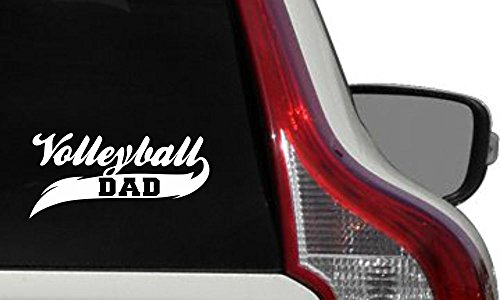 (Dad Volleyball Banner Car Vinyl Sticker Decal Bumper Sticker for Auto Cars Trucks Windshield Custom Walls Windows Ipad Macbook Laptop Home and More (WHITE))