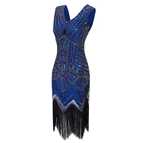 Tema Aleta Mujer Gatsby Fiesta Vestido 1920 Noche De Blueblue blueblue Flecos V Luckgxy Década xl Cuello La wU8qnR