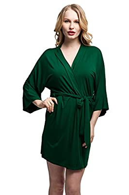 ExpressBuyNow Comfortable Modal cotton Kimono Robe Short Bathrobe for Women