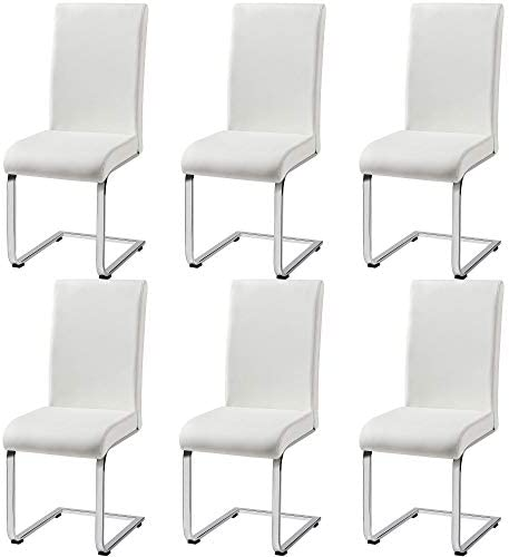 Yaheetech 6pcs Office Chairs Armless PU Leather Chairs Upholstered Seat and Metal Legs Side Chair
