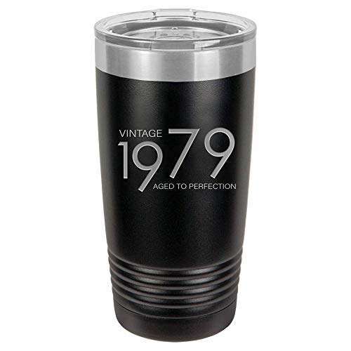 1979 40th Birthday Gifts for Men Women Insulated Stainless Steel Tumbler | 40 Year Old Presents 20 oz Black | Best Gift for Mom Dad Wife Husband | 40th Party Decorations Supplies Tumblers Man Woman (Christmas Gift Ideas For 40 Year Old Man)
