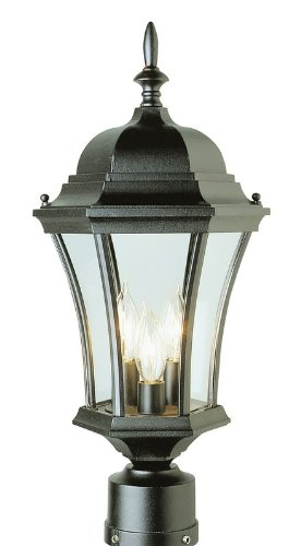 "Trans Globe Lighting 4504 SWI Outdoor Burlington 21.25"" Postmount Lantern, Swedish Iron"