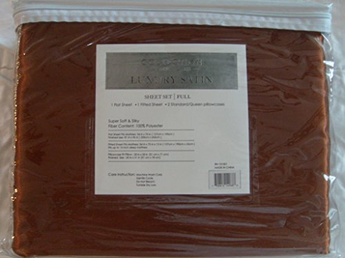 Soft Silky Satin Solid Mocha Brown 4pc Deep Pocket Sheet Set for Full/double Bed