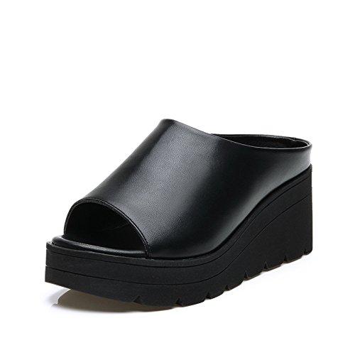 ZPPZZP Ms sandali estate pendenza aumentata con la parola trascinare il nero 36EU