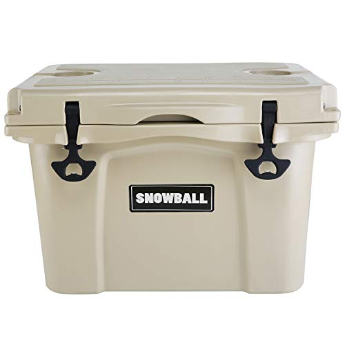 Snowball Coolers, Keep Ice Up to 6 Days, Rotomolded Insulation Ice Chest for Camping, Fishing, Hunting, BBQs & Outdoor Activities, Tan, 26QT(25L)