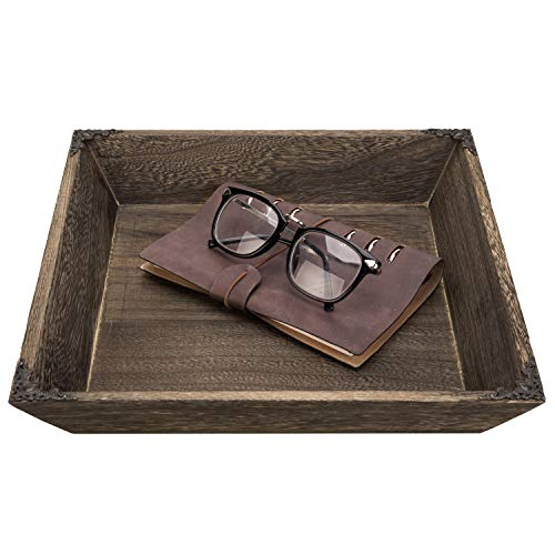 MyGift Rustic Burnt Paulownia Wood Serving Tray with Antique Metal Accents (Metal Tray And Wood)