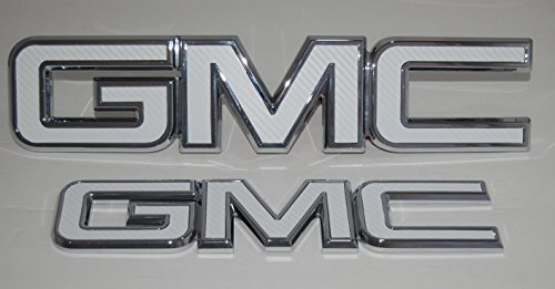 2016 - 2017 GMC Sierra 1500 White carbon fiber vinyl billet aluminum grille & tailgate emblems Red letter replacements