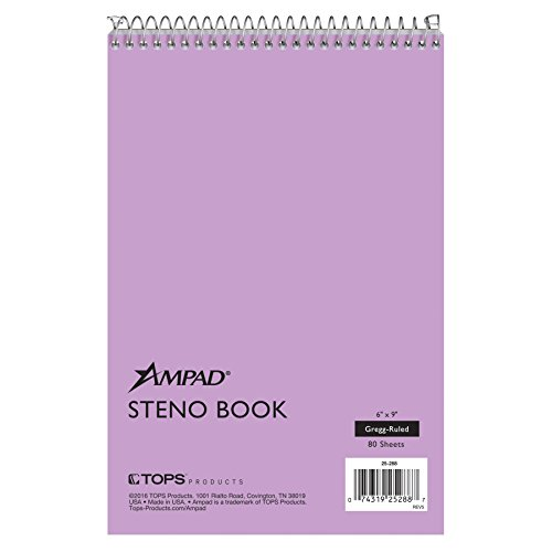(Ampad Steno Book, Gregg Ruled, Size 6 x 9, Orchid Paper, 80 Sheets Per Book)