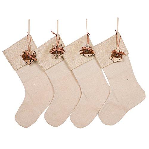 HUAN XUN Wood Heart Tree Snoflower Bell Set of 4 Christmas Stockings