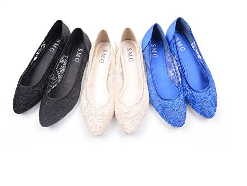 YFF Net-fait respirante chaussures plates à fond plat creux avec dentelle  chaussures noires, bf0451d1b83