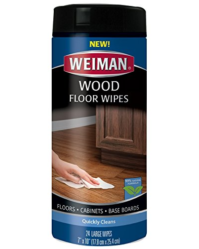 Weiman Wood Floor and Furniture Wipes - Quickly Cleans Hardwood Floors, Cabinets and Baseboards - 24 Count - Cherry Finished Wood Base