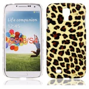 Leopard Leather Case for Samsung i9500 Yellow Brown