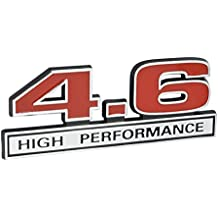 "4.6 Liter High Performance Engine Emblem in Chrome & Red - 5"" Long"