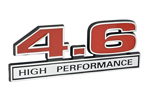 4.6 Liter High Performance Engine Emblem in Chrome & Red - 5