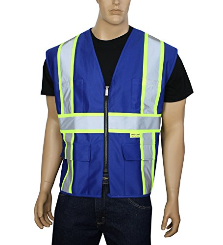 (Safety Depot Breathable Safety Vest Multiple Colors Available, 4 Lower Pockets, 2 Chest Pockets with Pen Divider & High Visibility Reflective Tape P40 (Royal Blue, Medium))