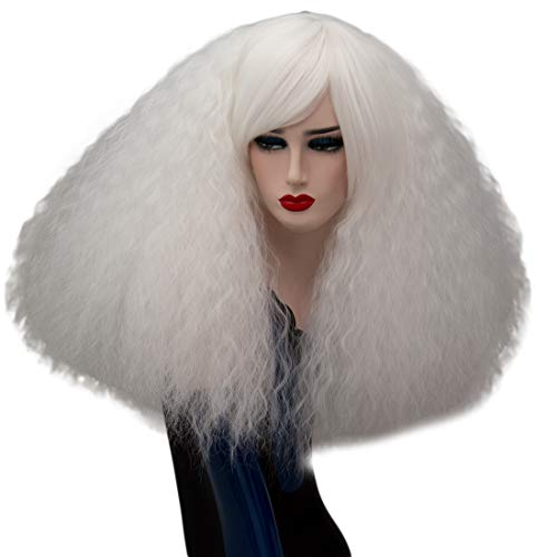 ELIM White Fluffy Cosplay Wigs Short Curly Wig Halloween Costume Wigs Synthetic Hair Oblique Bangs for Women with Wig Cap -
