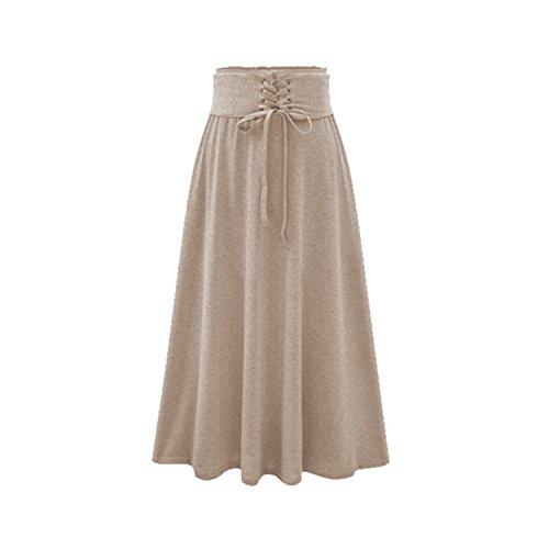 316c786a8a8 QIANNVSHEN Women Vintage High Waist Pleated Skirt A-Line Elastic Waist Tied  Belt Long Skirt Beige XL