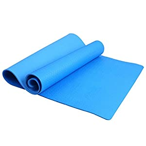 ULKEME 4mm Thickness Yoga Mat Non-slip Exercise Pad Health Lose Weight Fitness Durable (Blue)