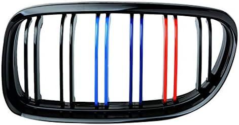 YLEI 二重線2007 2008 2009 2010 2011 2012とグロスブラックM-色の車のフロントグリルグリルのBMW E90ペアの