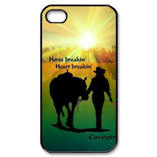 [Cowgirl With Horse iPhone 4 4S Case Cover - Horse Breakin Heart Breakin] (Cowgirl Costumes Diy)