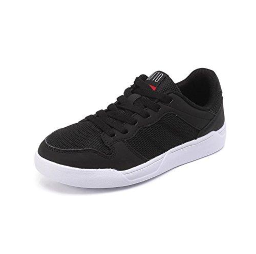 Lace-up Schuhe flache Schuhe Student Casual Mesh Schuhe Breathable Fashion Skateboard Schuhe Komfortable Sportschuhe Outdoor Running Schuhe ( Farbe : Schwarz , größe : 37 ) Schwarz