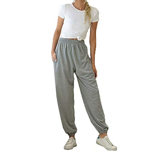 JIURI Womens Jogger Elastic Waist Sweatpants High Waist Active Athletic Yoga Running Sports Trousers with Pocket(GY,L)