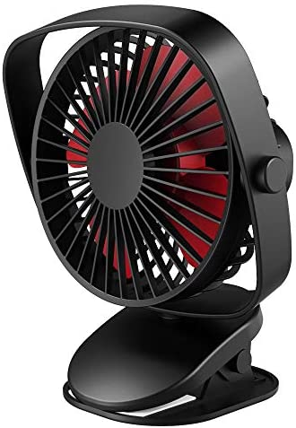 VersionTECH. Stroller Fan, Desk and Clip Fan, Mini Table Portable Personal Fan with USB Rechargeable Battery Operated and 360 Rotation for Baby Carriage Bed Car Office Outdoor Traveling Room