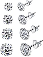 Shuxin Silver Stud Earrings for Women, 4 Pairs 925 Sterling Silver Cubic Zirconia Stud Earrings Set, Hypoallergenic Small...
