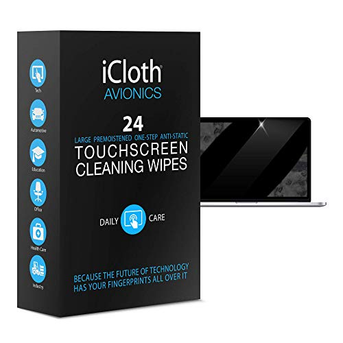 - iCloth Large Screen Cleaning Wipes - Cleans and Protects a Computer Monitor, a Gaming PC a Touchscreen Desktop, a TV LED or LCD, Aviation and Automotive displays | iCA24 | 24 Wipe Box