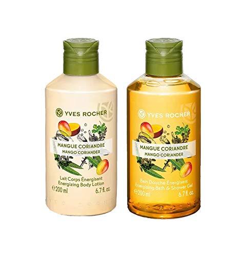 Yves Rocher Les Plaisirs Nature Energizing Bath & Shower Gel - Mango Coriander (6.7 fl.oz.) + Yves Rocher Les Plaisirs Nature Energizing Body Lotion - Mango Coriander (6.7 fl.oz.)