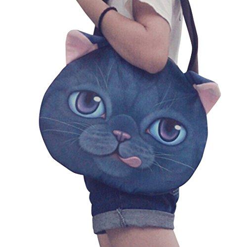 Good Bag Women's Tote Bag Zipper Shoulder Handbag with Cute Animal Cat Head Printing (Large, Blue)