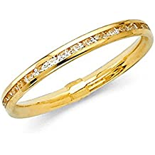 14k Solid Yellow Gold Eternity Band Stackable Ring Channel Set Endless Wedding Band 2.4 MM