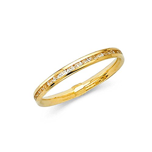 d Eternity Band Stackable Ring Channel Set Endless Wedding Band 2.4 MM Size 8 (Yellow Gold Eternity Wedding Ring)