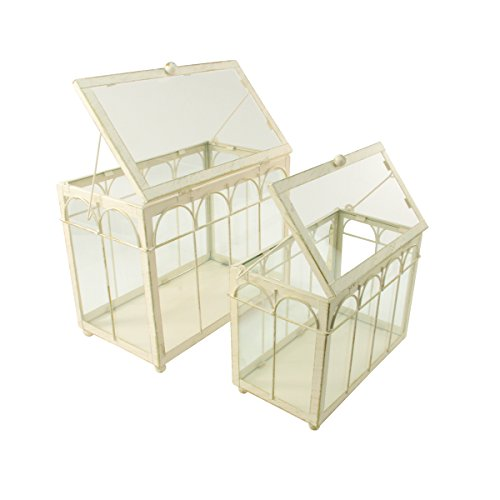 Set of 2 Gold and Antique-White Brushed Metal Nesting Outdoor Greenhouse Terrariums 8.25