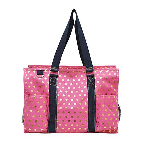 (NGIL All Purpose Organizer Medium Utility Tote Bag 2018 Spring Collection (Gold Polka Dot Coral))