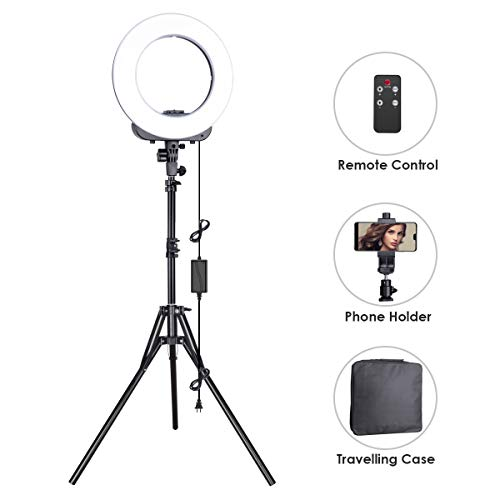 Geekoto Ring Light, LED Ring Light, Lighting Kit for Phone, Light Ring with Adjustable Stand and Phone Holder, 14-inches Outer 38W, 3200K-5500K, Remote Control for Video Shooting, Makeup by Geekoto