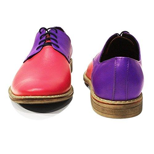 PeppeShoes Modello Funky - Handgemachtes Italienisch Leder Herren Lila Oxfords Abendschuhe Schnürhalbschuhe - Rindsleder Weiches Leder - Schnüren