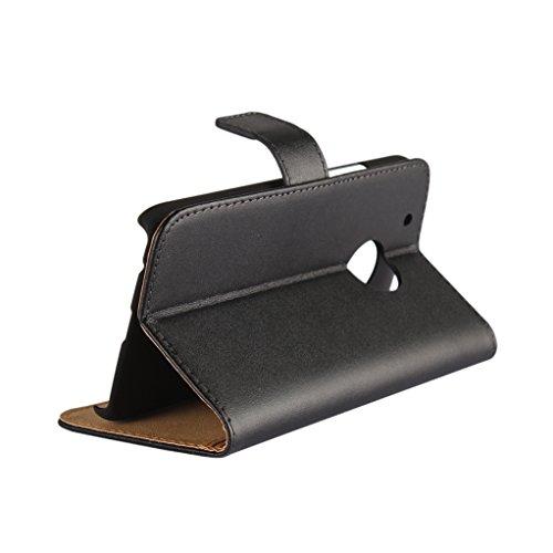 Trumpshop Smartphone Carcasa Funda Protección para Motorola Moto G 3rd Generation / Moto G3 + Blanco + Ultra Delgada Cuero Genuino Caja Protector con Función de Soporte Choque Absorción Negro